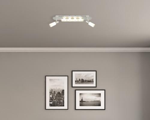 Spot de plafond d''AMBIANCE à LED Turais chrome/satin avec 6 ampoules de 6x350 lm 3000 K, blanc chaud, L 610 mm