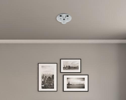 Plafonnier LED IP44 3x6W 500lm 3000K blanc chaud Ø 240mm Azimech chrome