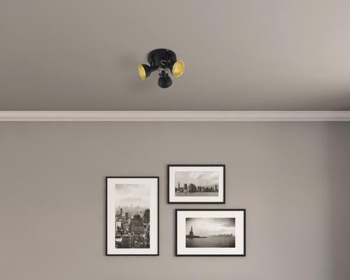 Spot de plafond FLAIR 3 ampoules rond Alrakis noir/mat/or Ø 210 mm-0