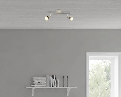 Spot de plafond 2x3W 2x240lm 3.000K blanc chaud satin/nickel L 275mm