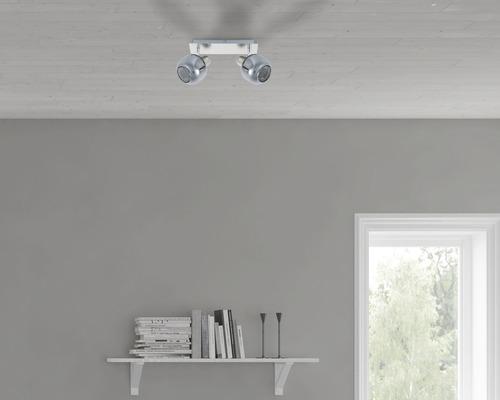Spot de plafond FLAIR 2 ampoules fer/nickel/satiné verre fumé l 250 mm-0