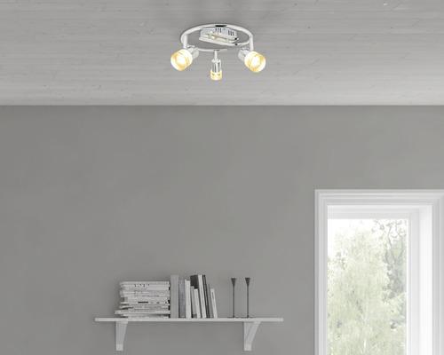 Rondelle de spots murale LED Flair 3x3.7 Watts chrome/transparent