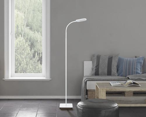 Lampadaire à LED FLAIR à intensité lumineuse variable 8W 660 lm 3000/4300/6500 K blanc chaud/blanc neutre/blanc naturel H 1,59 m Dalim blanc métal/plastique