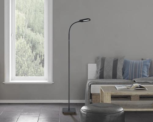 Lampadaire à LED FLAIR à intensité lumineuse variable 8W 660 lm 3000/4300/6500 K blanc chaud/blanc neutre/blanc naturel H 1,59 m Dalim noir métal/plastique