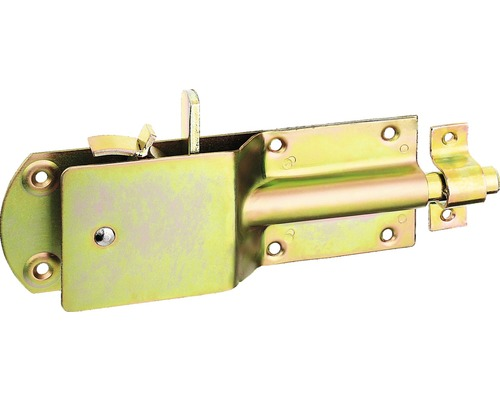 Sicherheits-Stallriegel leicht mit flachem Griff und Schlaufe, 200 x 70 mm, Galv. gelb verzinkt