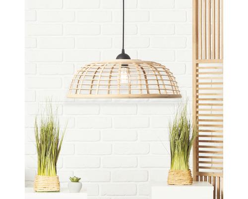 Suspension plastique-bambou 1 ampoule hxØ 1200x470 mm Crosstown noir/naturel