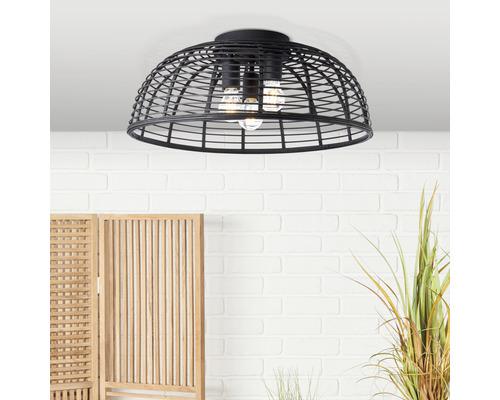 Plafonnier métal-bambou 3 ampoules Ø 570mm Crosstown noir