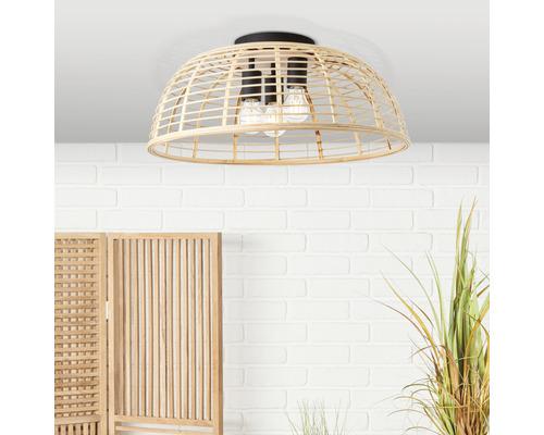 Plafonnier métal-bambou 3 ampoules Ø 570mm Crosstown noir/nature