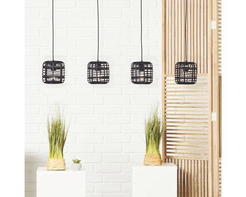 Suspension métal-bambou 4 ampoule hxLxl 1200x1060x160 mm Crosstown noir