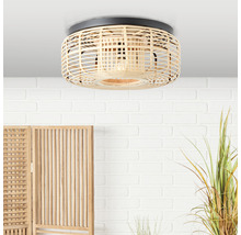 Plafonnier métal-bambou 1 ampoule HxØ 180x450mm Crosstown nature/noir-thumb-0