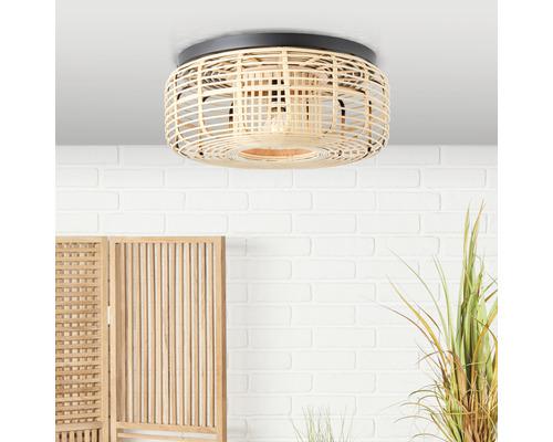 Plafonnier métal-bambou 1 ampoule HxØ 180x450mm Crosstown nature/noir-0