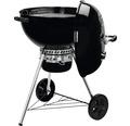 Barbecue au charbon de bois Weber Kettle E-5730 Ø 57 cm noir, avec thermomètre sur le couvercle, grille de fond, grille foyère en acier, grille de barbecue en acier chromé, cendrier aluminium, système de nettoyage One-Touch, bol doseur de briquettes
