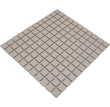 Mosaïque céramique Quadrat uni beige clair non émaillé 32.7x30.2cm-thumb-1