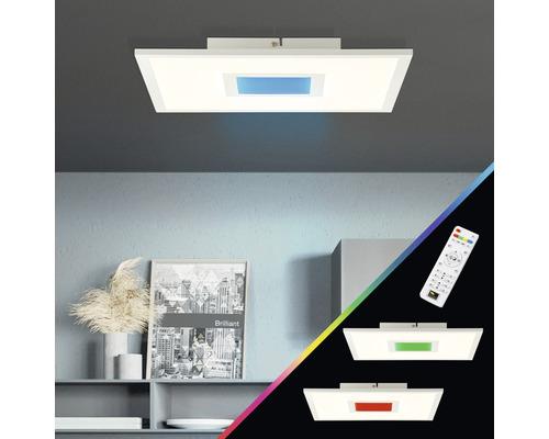 Panneau LED CCT RGB à intensité lumineuse variable 25W 2480lm 2700-6500K blanc chaud - blanc lumière du jour hxlxp 50x395x395mm avec télécommande Odella blanc