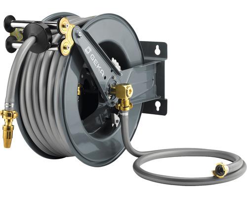 """Enrouleur de tuyau GEKA PA30SK avec retour automatique intégré30m tuyau GEKA Plus 110 en 3/4"""", tuyau d''alimentation 2m et robinet"""