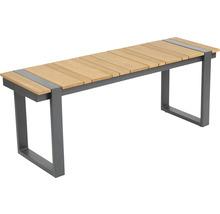 Loungeset Garden Place Alu 237 x 237 cm 7-Sitzer 3 tlg. inkl. Tisch 120 x 70 x 69 cm in Holzoptik inkl. Sitzkissen hellgrau-thumb-3