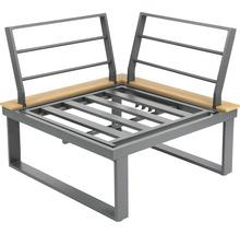Loungeset Garden Place Alu 237 x 237 cm 7-Sitzer 3 tlg. inkl. Tisch 120 x 70 x 69 cm in Holzoptik inkl. Sitzkissen hellgrau-thumb-10