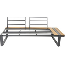 Loungeset Garden Place Alu 237 x 237 cm 7-Sitzer 3 tlg. inkl. Tisch 120 x 70 x 69 cm in Holzoptik inkl. Sitzkissen hellgrau-thumb-4