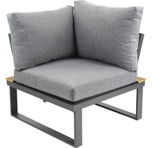 Loungeset Garden Place Alu 237 x 237 cm 7-Sitzer 3 tlg. inkl. Tisch 120 x 70 x 69 cm in Holzoptik inkl. Sitzkissen hellgrau-thumb-6