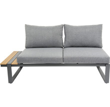 Loungeset Garden Place Alu 237 x 237 cm 7-Sitzer 3 tlg. inkl. Tisch 120 x 70 x 69 cm in Holzoptik inkl. Sitzkissen hellgrau-thumb-7