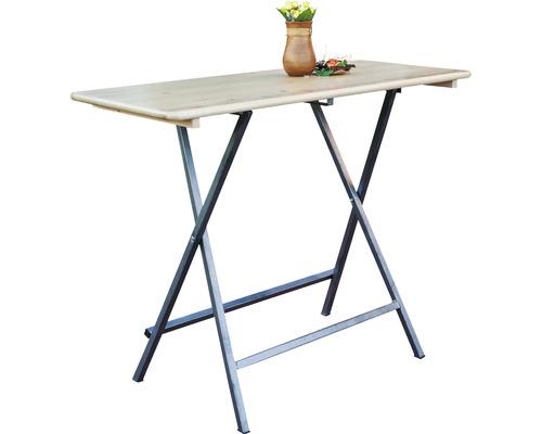 Table haute 120 x 80 x 110 cm avec plateau en bois d'épicéa et cadre en métal