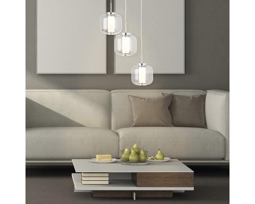 Suspension LED métal-verre 3x6W 3x430 lm 300 K blanc chaud hxØ 1200x250 mm Rafa chrome/verre fumé