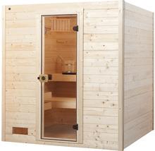 Sauna en bois massif Weka Valida GT taille 3 avec poêle 9kW et commande intégrée, avec porte entièrement vitrée en verre transparent-thumb-1