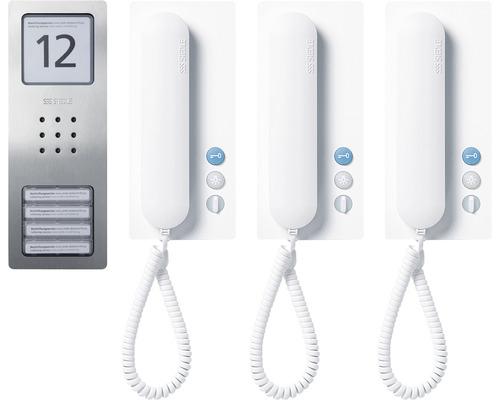 Jeu audio Siedle Compact Set CA 812-3 acier inoxydable brossé jeu d''interphone trois appartements pose en saillie