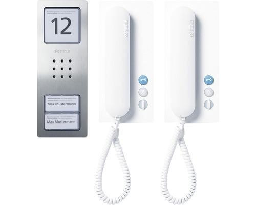 Jeu audio Siedle Compact Set CA 812-2 acier inoxydable brossé jeu d''interphone maison 2 familles pose en saillie