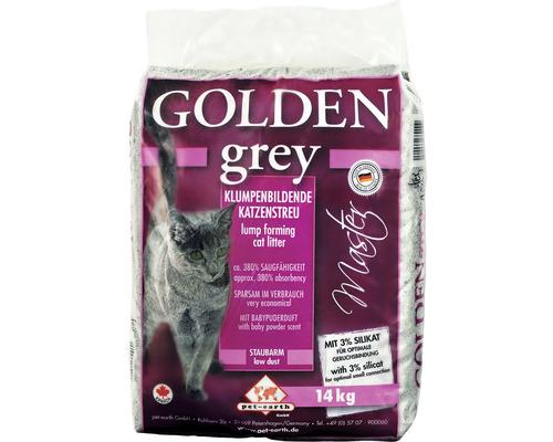 Katzenstreu Golden Grey Master mit Babypuderduft 14 kg