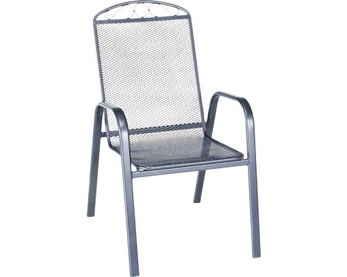 Chaise empilable Garden Place métal déployé gris acier