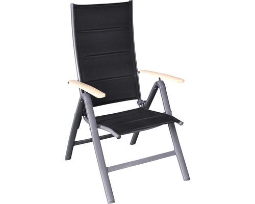 Chaise pliante Garden Place fauteuil pliant avec coussin séchage rapide intégré gris accoudoir aspect bois « used look »