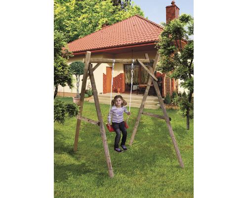 Balançoire simple en bois 150 x 190 x 220 cm avec 1x balançoire à planche en PVC