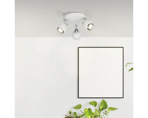 Spot de plafond LED 3x3W 3x250lm 3000K blanc chaud Ø190mm Ina blanc/chrome