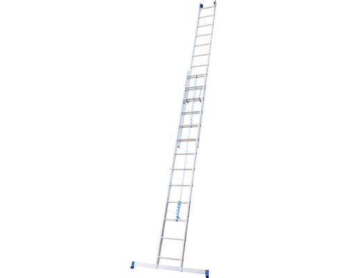 Échelle coulissante WERNER en 2 parties 2 x 13 échelons aluminium longueur 3,70 - 6,50 m