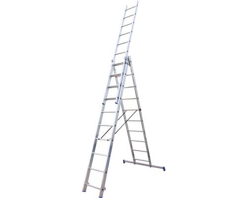 Échelle transformable WERNER 3 x 10 échelons aluminium longueur 2,85 - 6,50 m