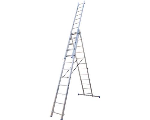 WERNER Mehrzweckleiter 3 x 12 Sprossen Aluminium Länge 3,45 - 7,90 m