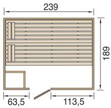 Sauna en bois massif Weka Valida GT taille 4 avec poêle 9kW et commande intégrée, avec porte entièrement vitrée en verre transparent-thumb-1
