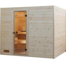 Sauna en bois massif Weka Valida GT taille 4 avec poêle 9kW et commande intégrée, avec porte entièrement vitrée en verre transparent-thumb-2
