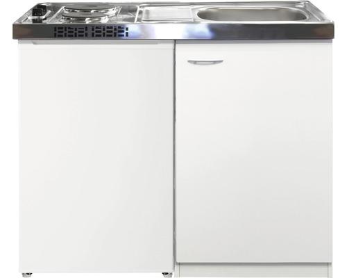 Kitchenette Wito 100 cm couleur face avant blanc mat couleur du corps blanc avec réfrigérateur sous plan de kitchenette