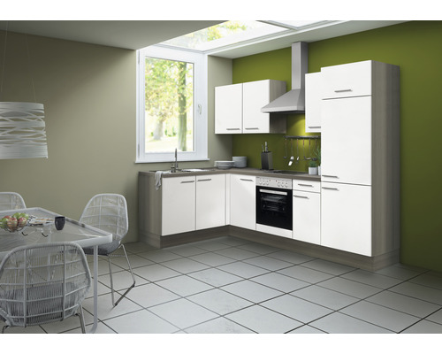 Cuisine complète Optifit Torger largeur 270 cm couleur de façade blanc couleur de corps blanc avec électroménager KCTO 21611DE-8+-0