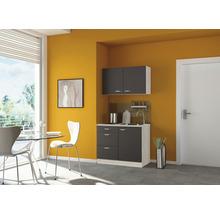 Mini-cuisine Optifit Faro largeur 100 cm couleur de façade anthracite, couleur de corps décor acacia avec appareils électriques-thumb-0