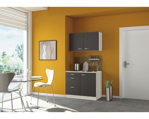 Mini-cuisine Optifit Faro largeur 100 cm couleur de façade anthracite, couleur de corps décor acacia avec appareils électriques