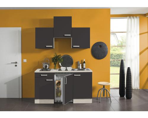 Kitchenette Optifit Faro largeur 150 cm couleur de façade anthracite, couleur de corps décor acacia avec électroménager KPFR 1500D-9+