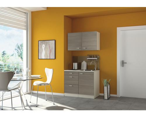 Mini-cuisine Optifit Vigo largeur 100 cm couleur de façade blanc brillant couleur de corps pin fantaisie nougat couleur de corps champagne avec appareils électriques