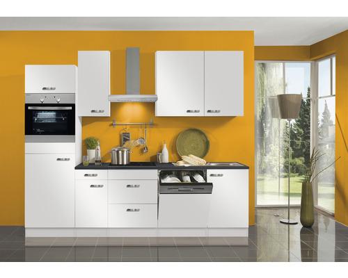 Cuisine complète Optifit Lagos largeur 270 cm couleur de façade blanc brillant couleur de corps blanc avec électroménager KPLG 2764DEC-9+-0