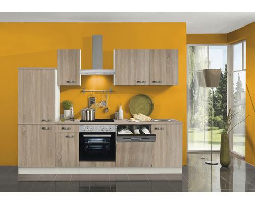 Cuisine complète Optifit Padua largeur 270 cm couleur de façade imitation chêne clair brut couleur de corps champagne avec électroménager KPPD 2742DE-9+-0