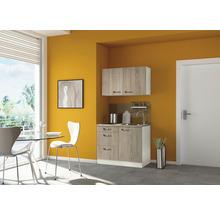 Mini-cuisine Optifit Padua largeur 100 cm couleur de façade imitation chêne clair brut couleur de corps champagne avec appareils électriques-thumb-0