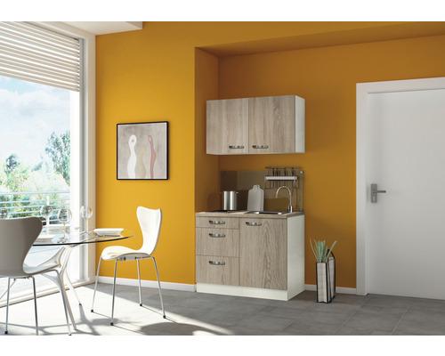 Mini-cuisine Optifit Padua largeur 100 cm couleur de façade imitation chêne clair brut couleur de corps champagne avec appareils électriques-0