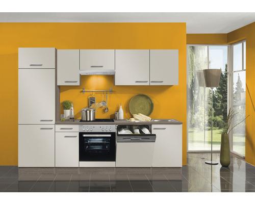 Cuisine complète Optifit Arta largeur 270 cm couleur de façade beige Sahara, couleur du corps imitation chêne truffe brut avec électroménager KPAT 2702WDE-9+-0